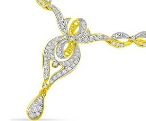 Shining Sun Shine Two Tone Diamond & Gold Beautiful Necklace Pendants