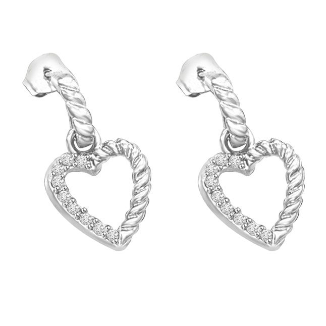 Shining Swan 0.36ct Serrated Gold & Diamond 14kt White Earrings Pair For Her -Heart Shape Earrings
