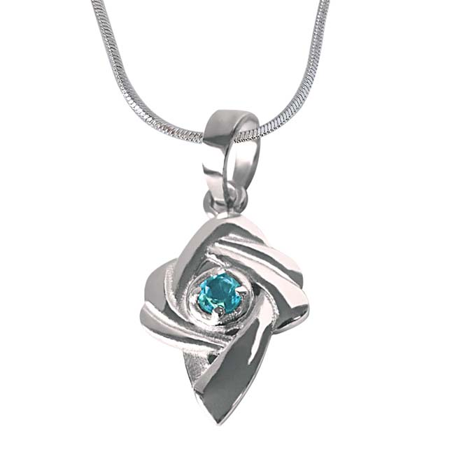 "Shinning Beauty -Blue Topaz 925 Sterling Silver Pendants with 18"" Chain"