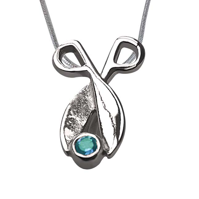 "Shinning Magic -Blue Topaz 925 Sterling Silver Pendants with 18"" Chain"
