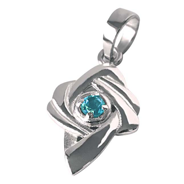 Shinning Beauty - Blue Topaz 925 Sterling Silver Pendant with 18 IN Chain