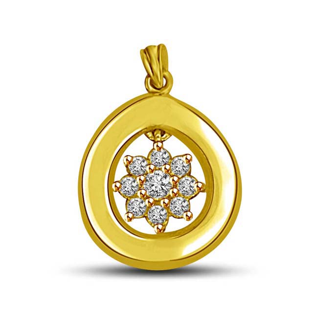Shinning Star in Circle Diamond & Gold Pendants for my North Star -Flower Shape Pendants