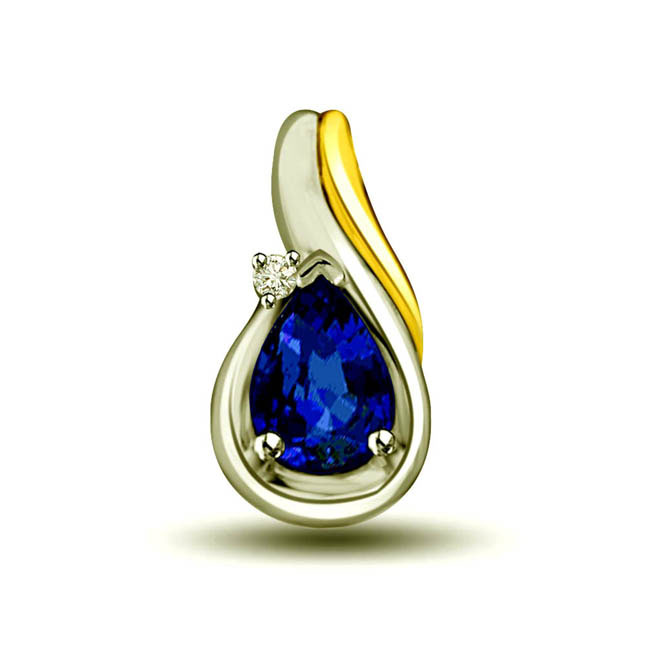 Shiny Show 0.32ct Tcw Big Pear Blue Sapphire & Diamond 18kt Pendants