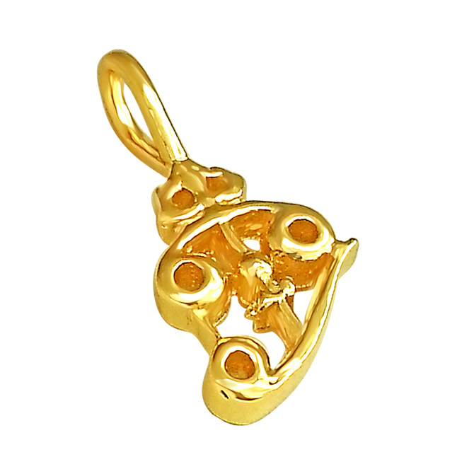 Shiva's Trishul Religious Gold Plated Pendant in Sterling Silver with Gold Plated Chain for All (SDS192)