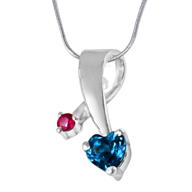 Showers of Blessings  Blue Topaz, Red Ruby & Sterling Silver Pendant with 18 IN Chain