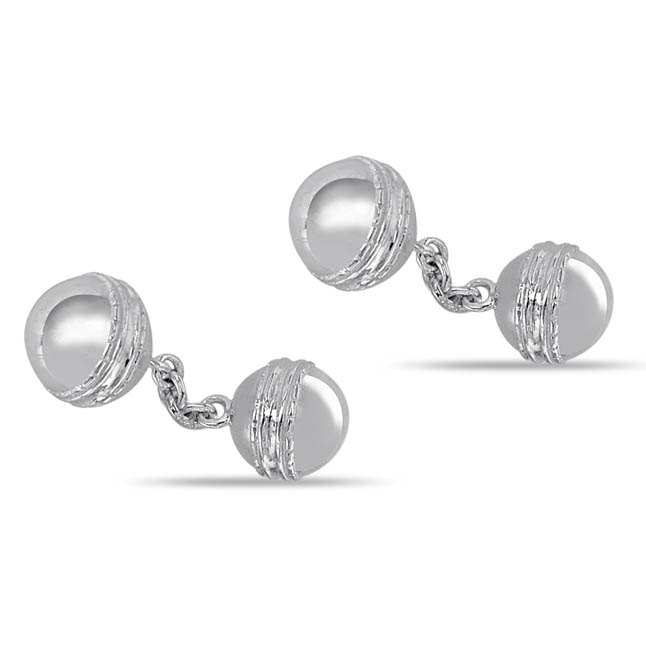 Silver Cricket Ball Cufflinks -Silver Sports Cufflinks