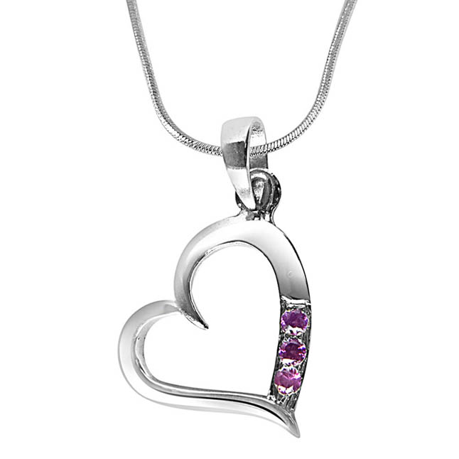 "Simple way to my Heart Rhodolite Sterling Silver Pendants with 18"" Chain"