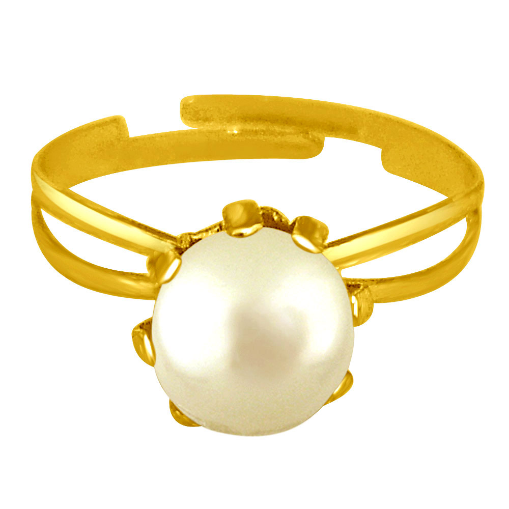 Simple White Real Pearl adjustable rings