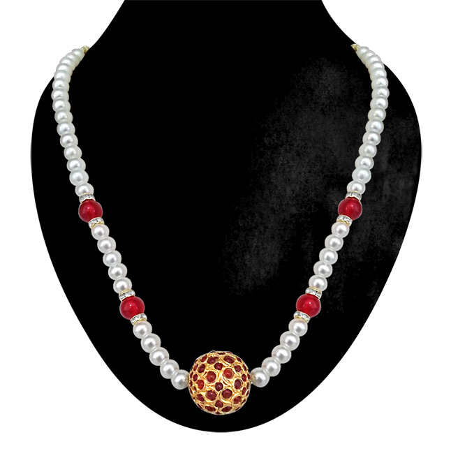 Simply Elegant - Red Kundan Ball, Shell Pearls & Red Beads Necklace. - Necklace