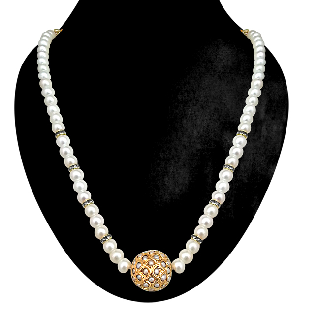 Simply Simple -White Kundan Ball & Shell Pearls Necklace. -Necklace