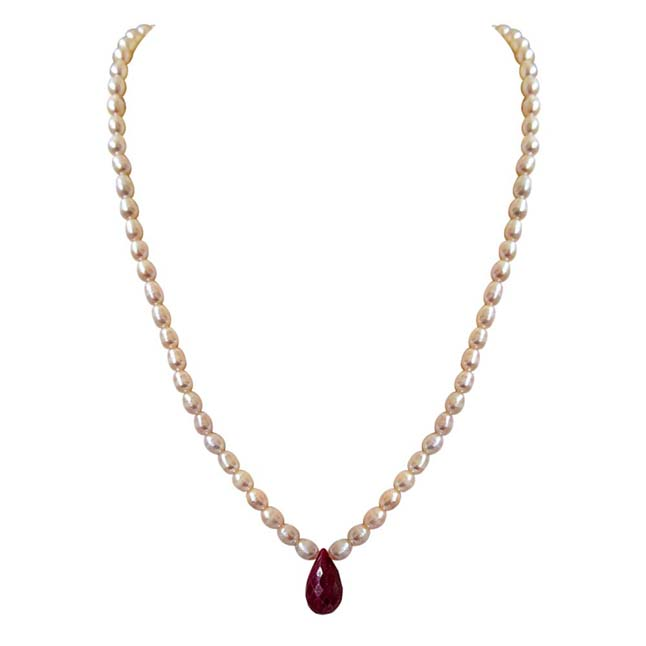 Single Line Faceted Big 13ct Solitaire Drop Ruby & Rice Pearl Necklace -Ruby+Pearl