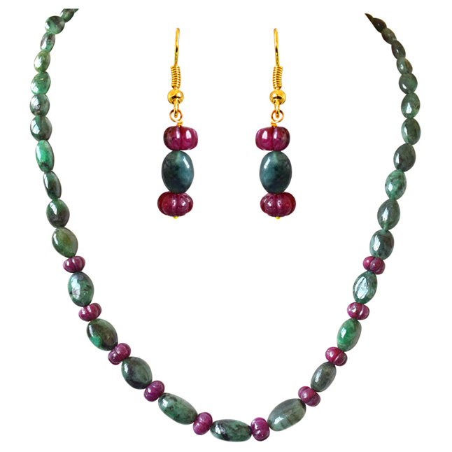 Single Line Real Oval Green Emerald & Flower Shaped Red Ruby Beads Necklace Earring Jewellery Set for Women (SN688)