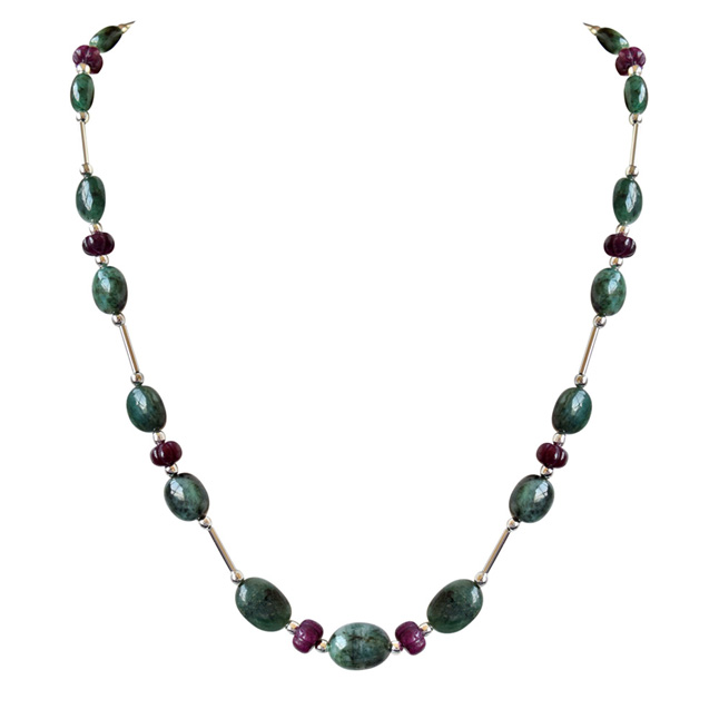 Single Line Real Natural Oval Emerald & Khabucha Ruby Beads & Silver Plated Pipe & Beads Necklace for Women (SN684)