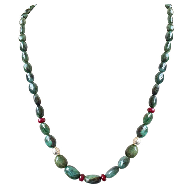 Single Line Real Oval Green Emerald, Red Ruby Beads & Silver Plated Ball Necklace -Single Line