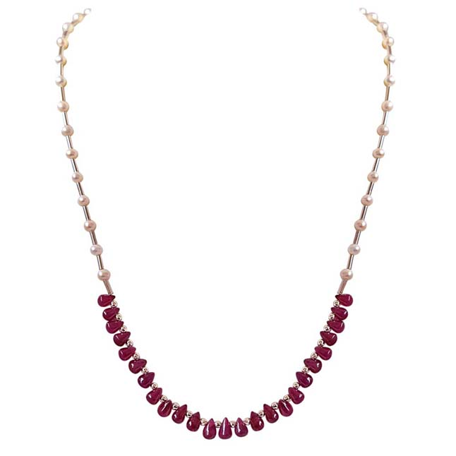 Single Line Real Drop Ruby, Freshwater Pearl & Silver Plated Pipe Necklace -Ruby+Pearl