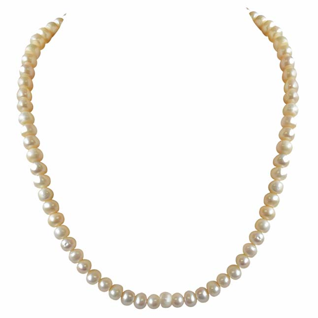 Single Line Real Big Freshwater Pearl Necklace for Women (SN743)