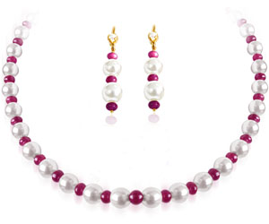 Single Line Ruby freshwater Pearl Necklace with Matching Earrings -Ruby+Pearl