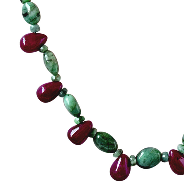 Single Line Real Natural Green Emerald & Drop Red ruby Necklace & Earring Set for Women (SN683)