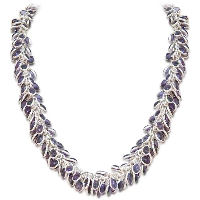 Purple Coloured Stone & Silver Plated Necklace - Necklace