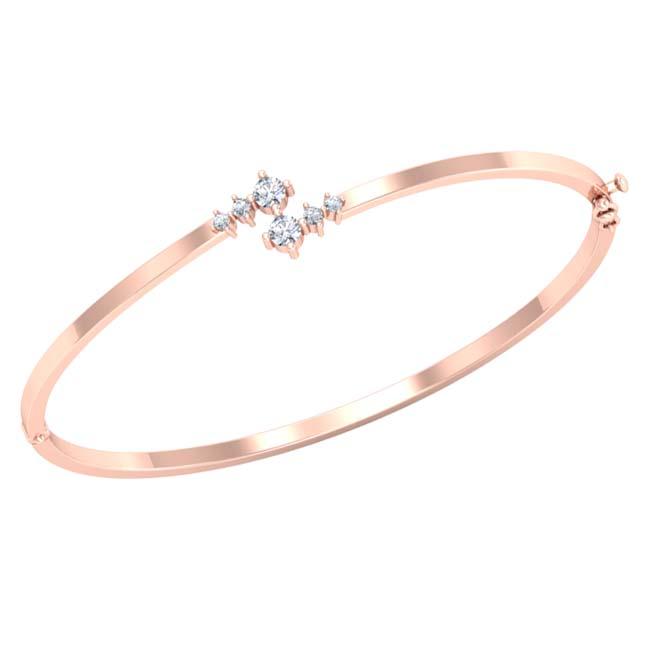 Real Diamond & Rose Gold Plated 925 Sterling Silver Bracelet for Her -Diamond Bracelets