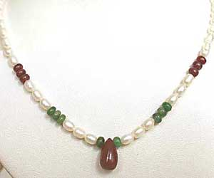 SN -447 Coral Hues -Precious Stone Necklace