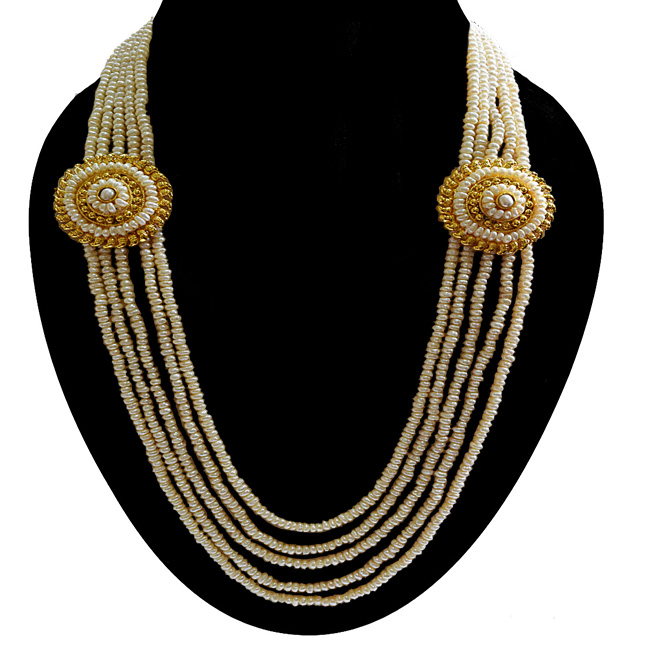 5 Line Real Freshwater Pearl & 2 Gold Plated Pendant Maharani Necklace for Women (SN975)