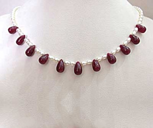 SN-349 Single Line Drop Ruby and Rice Pearl  Necklace - Ruby+Pearl
