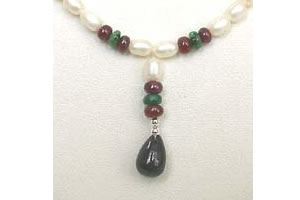 Drop Sapphire, Emerald ,Ruby Beads & Rice Pearl Necklace