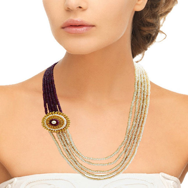 5 Line Real Freshwater Pearl Gold Plated Pendant Maharani Necklace (SN976)