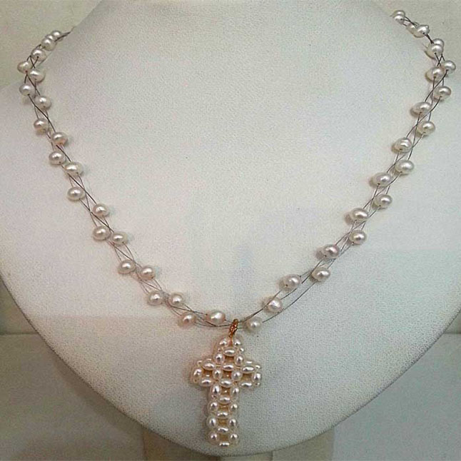 Freshwater Pearl Necklace Cross Pendants -SN132