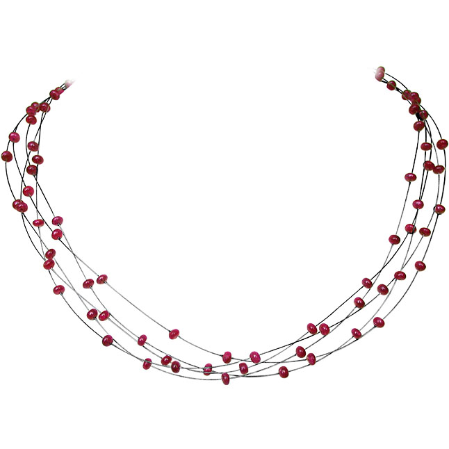 Lingering Beauty - 5 Line Real Red Ruby Beads Necklace for Women (SN137)