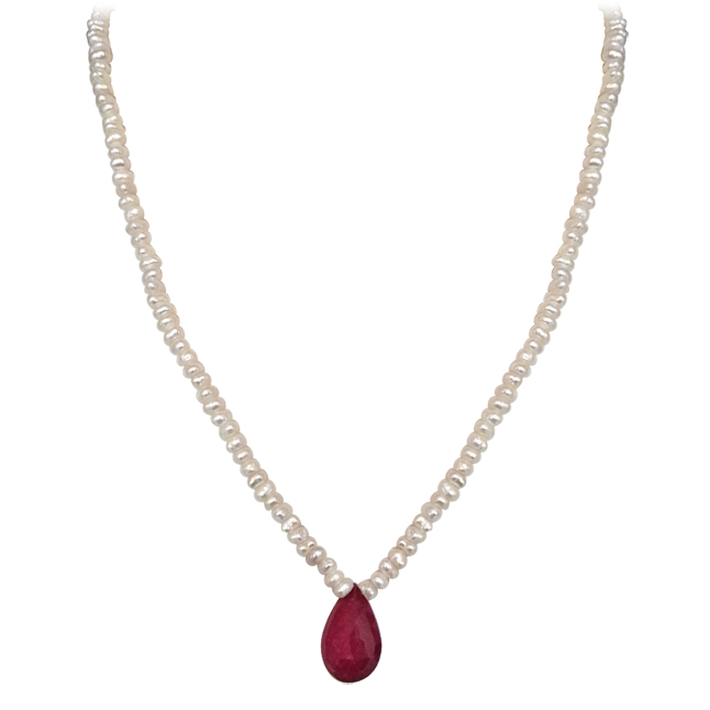 25.45cts Faceted Drop Ruby & Freshwater Pearl Necklace -Ruby+Pearl