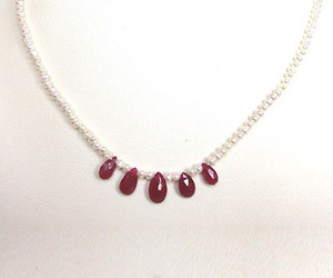 Rich Pearl Radiance - 3 Faceted Drop Ruby & Freshwater Pearl Necklace for Women (SN152)