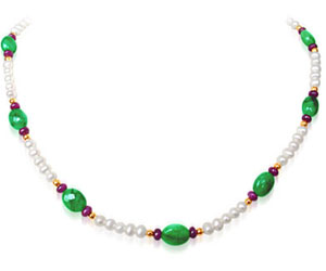 Big Oval Shaped Lustrous Green Necklace set -Precious Stone Necklace