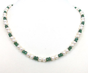 SN179 She Is My World -Necklace -Emerald Pearl