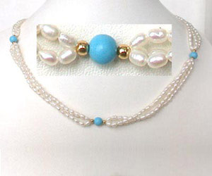 Three Line Twisted Rice Pearl Necklace -Twisted Rice Pearl