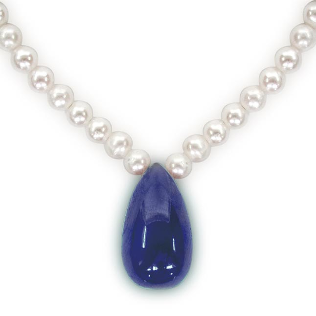 12.13cts Drop Sapphire & Freshwater Pearl Necklace -Sapphire Pearl