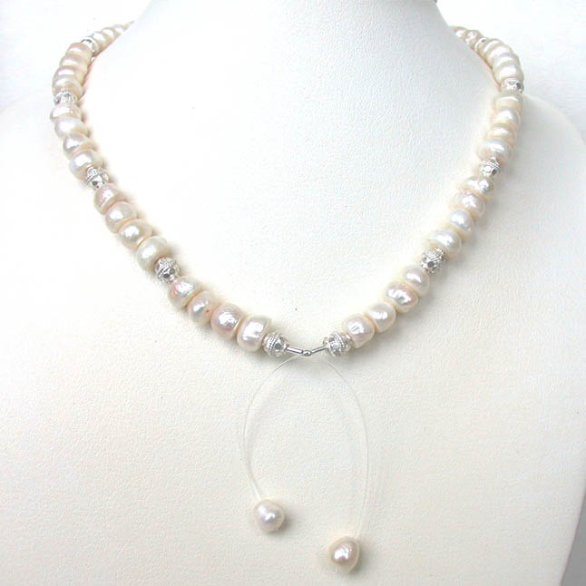 Luxury - Single Line Freshwater Pearl & Silver Plated Ball Necklace for Women (SN214)