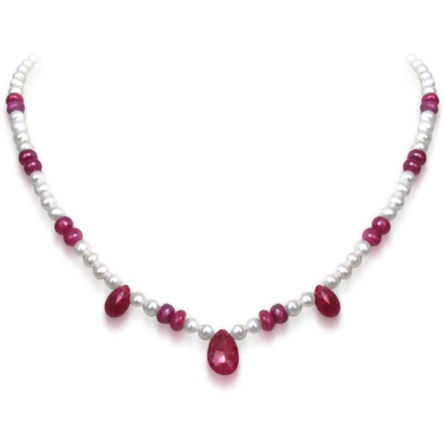 Playful Pearls - Single Line Faceted Drop Ruby, Ruby Beads & Freshwater Pearl Necklace for Women (SN218)