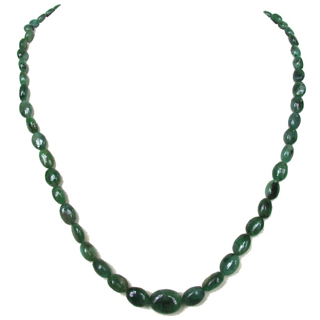 Single Line Oval Shape Natural Real Genuine Emerald Necklace