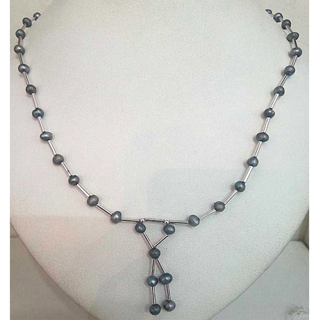 Grey Colored Pearl Necklace -SN322