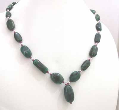 Single Line Oval Emerald, Ruby Beads Necklace -Precious Stone Necklace