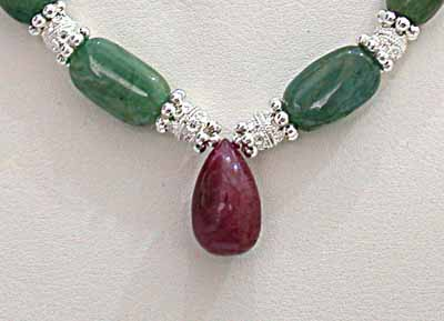 Oval Green Emerald +Drop Ruby Necklace -Precious Stone Necklace