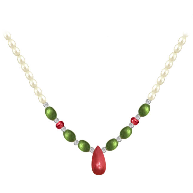 Joyous Beauty - Single Line Freshwater Pearl, Drop Ruby & Oval Emerald Necklace for Women (SN442)