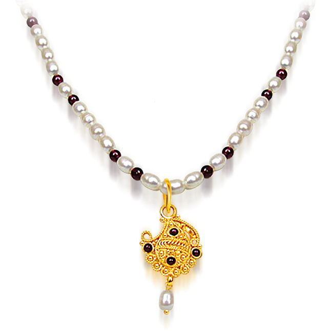 Garnet & Freshwater Pearl Necklace -Single Line