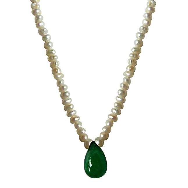 Green Onyx & Freshwater Pearl Set -Single Line