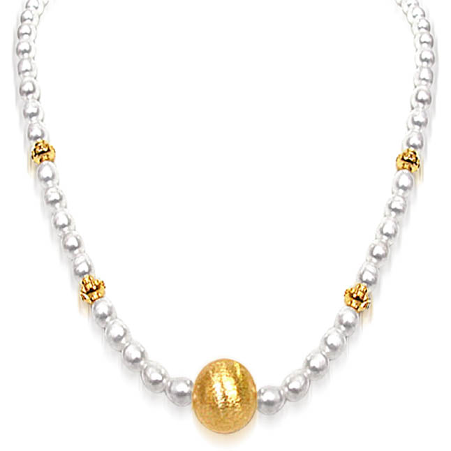 Real Freshwater Pearl Necklace With Ball -Single Line