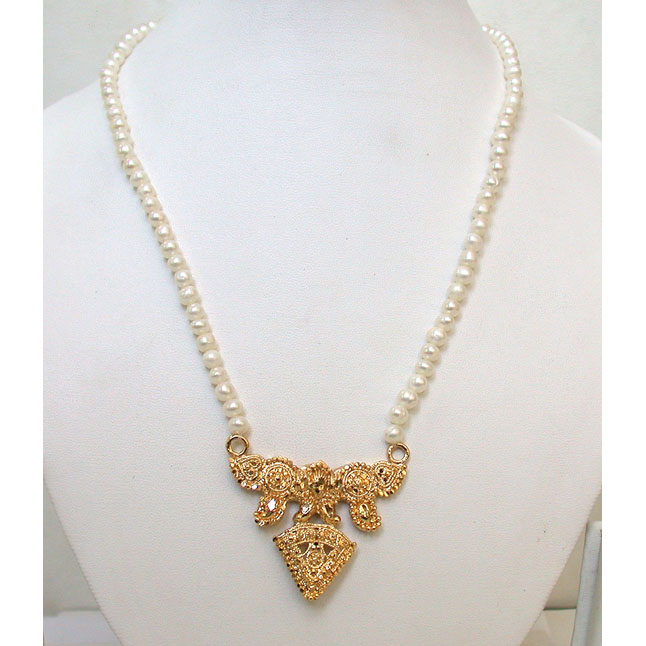 24kt Gold Plated Pendants & Freshwater Pearl Necklace
