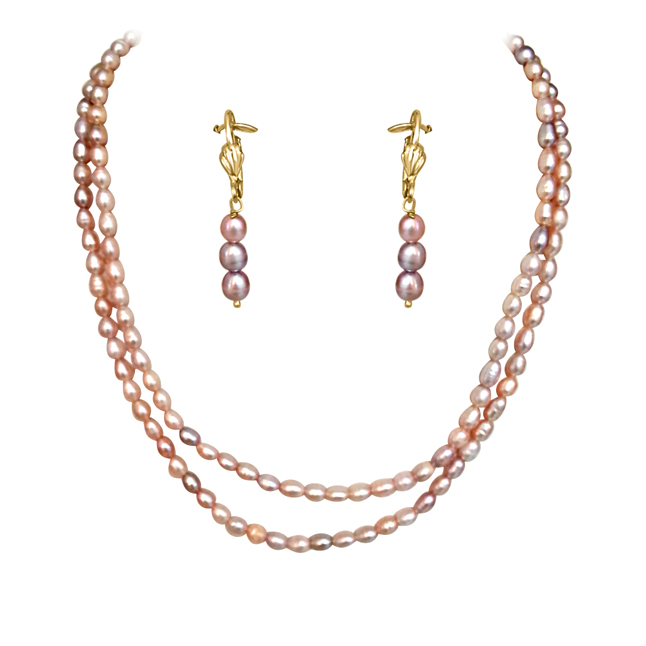 Real Natural Pink -Purple Coloured Rice pearl Necklace Earrings Set -Pearl Set