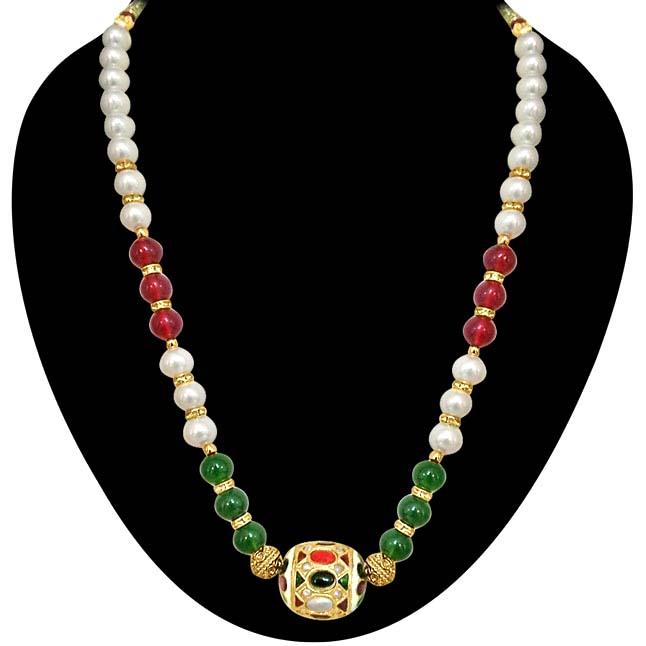 Traditonal Kundan Ball, Shell Pearl & Coloured Beads Necklace. -Necklace